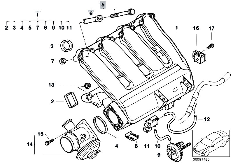 intake manifold flap motor location