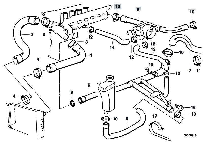 Cooling System Water Hoses 4 on 2006 Bmw 325i Belt Diagram