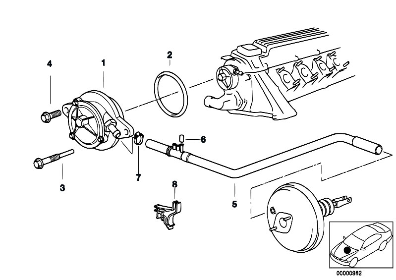 original parts for e39 525tds m51 touring    engine   vacuum