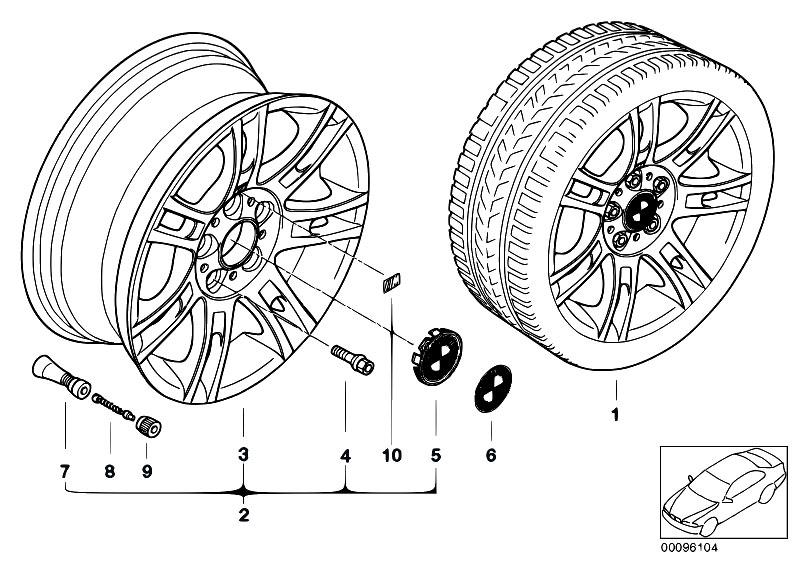 original parts for e46 316ti n42 compact    wheels   bmw alloy wheel m double spoke 97