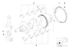 E46 316i 1.9 M43 Sedan / Engine/  Crankshaft With Bearing Shells