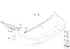 E46 330Ci M54 Coupe / Vehicle Trim/  Rear Bumper Mounting Parts