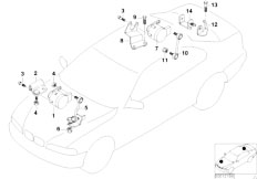 E46 316Ci M43 Coupe / Rear Axle/  Headlight Vertical Aim Control Sensor