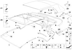 E46 318Ci N46 Cabrio / Sliding Roof Folding Top/  Folding Top Mounting Parts