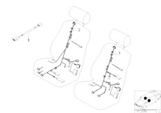 E39 520i M52 Sedan / Vehicle Electrical System/  Electr Adjust Standard Seat Wiring Set
