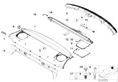 E46 330Ci M54 Coupe / Vehicle Trim/  Rear Window Shelf Sun Blind Electr