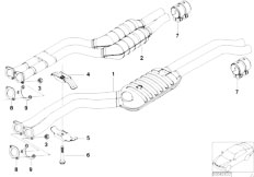 E46 330i M54 Touring / Exhaust System/  Catalytic Converter Front Silencer