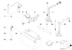 E46 320d M47 Touring / Vehicle Electrical System/  Battery Holder And Mounting Parts