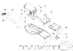 E46 330Ci M54 Coupe / Vehicle Trim/  Centre Console Armrest Support Trim Pan