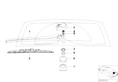 E46 320d M47 Touring / Vehicle Electrical System/  Single Parts Rear Window Wiper Arm