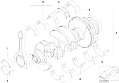 E46 316i N45 Sedan / Engine/  Crankshaft With Bearing Shells